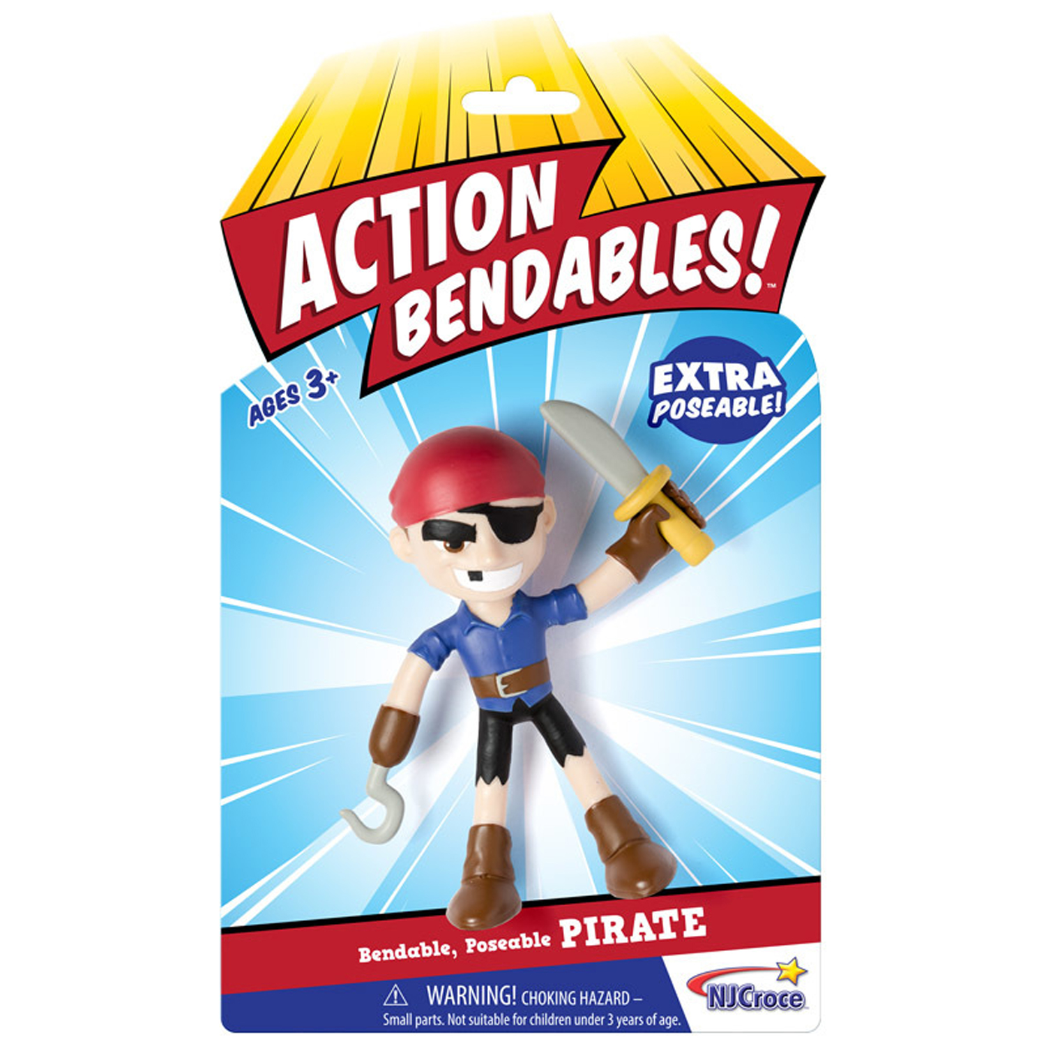 "NJ Croce ACTION BENDALBES! - 4"" Pirate Action Figure"
