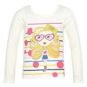 Girls Cream Girl Print Dot Stripe Studded Long Sleeved Top 8