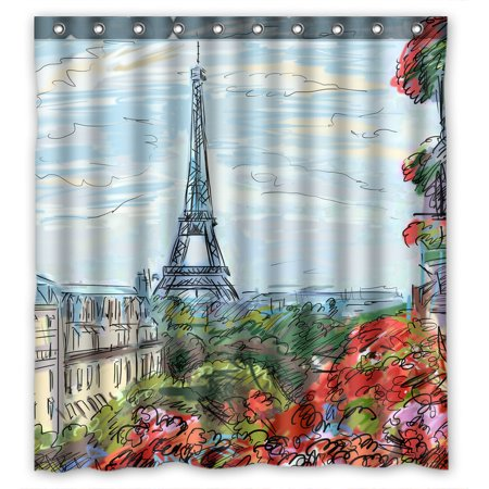 GCKG Eiffel Tower Bathroom Shower Curtain, Shower Rings Included 100% Polyester Waterproof Shower Curtain 66x72 inches (Ring Tower Eiffel)