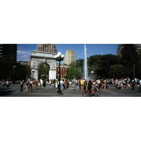 Chrome Washington Square (Tourists at a park Washington Square Arch Washington Square Park Manhattan New York City New York State USA Canvas Art - Panoramic Images (30 x 12) )