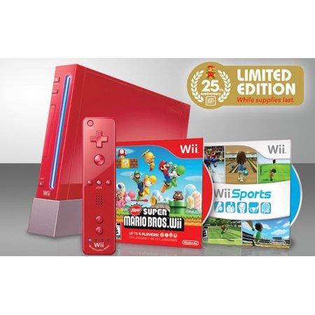 Nintendo Wii 25 Anniversary Edition Red Console with New Super Mario Bros and Wii Sports (Refurbished) - Super Products New Berlin Wi