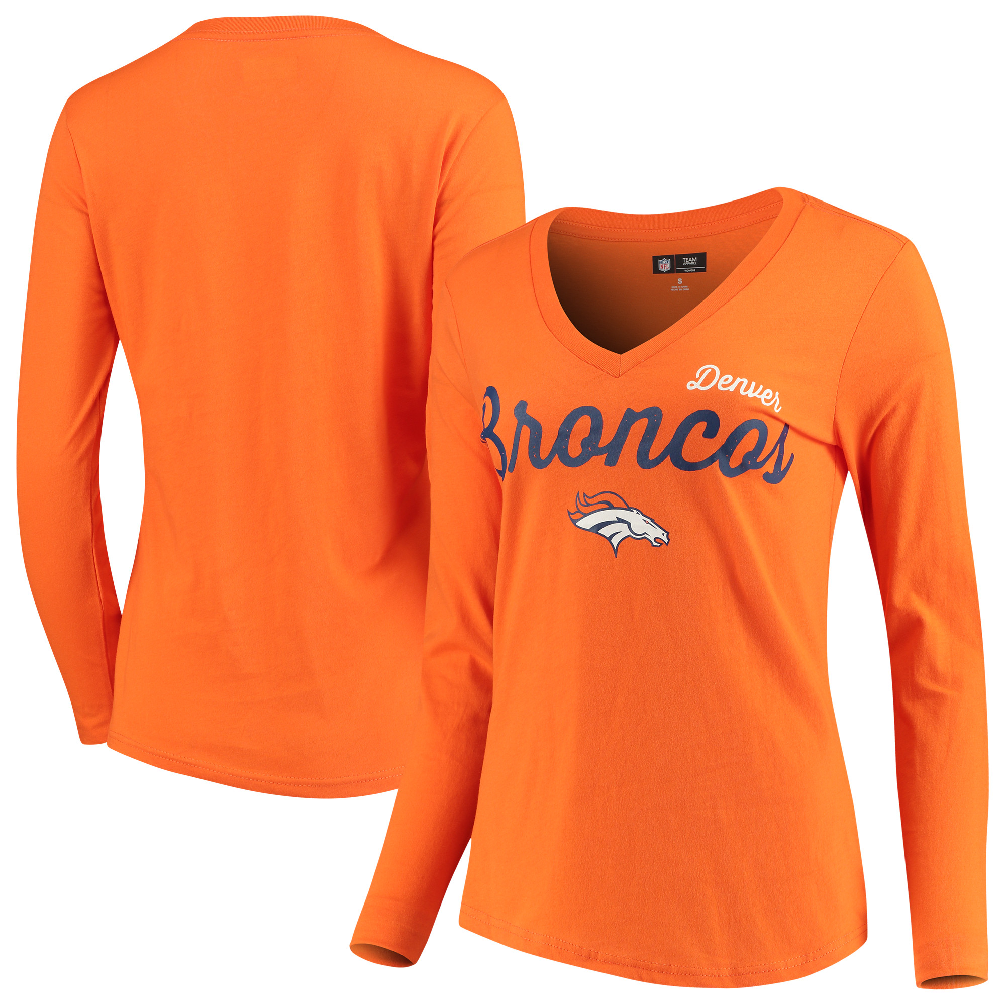 Denver Broncos G-III 4Her by Carl Banks Women's Preseason V-Neck Long Sleeve T-Shirt - Orange