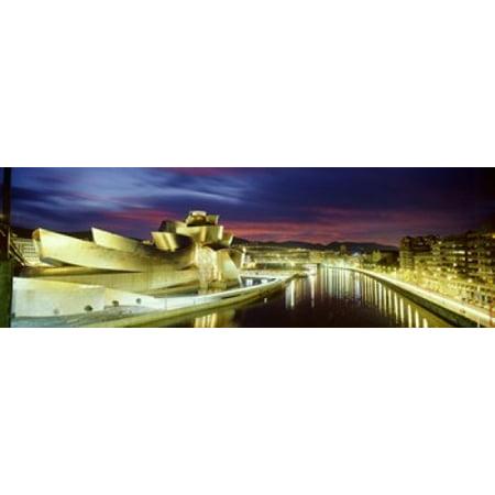 Buildings Lit Up At Dusk Guggenheim Museum Bilbao Bilbao Vizcaya Spain Poster Print