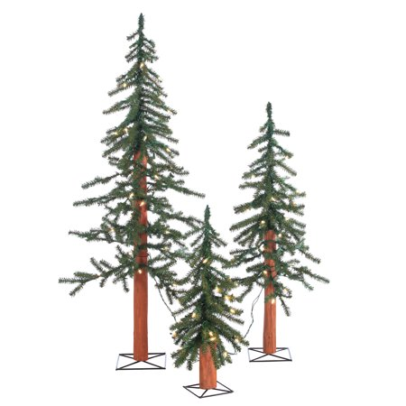 Sterling Pre-Lit Alpine Trees with Clear Lights (Set of 3) Alpine Bark Tree
