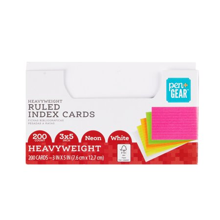 Pen + Gear Heavyweight Ruled Index Cards, Neon and White, 200 Count