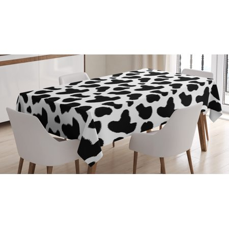 Cow Print Tablecloth, Cow Hide Pattern with Black Spots Farm Life with Cattle Camouflage Animal Skin, Rectangular Table Cover for Dining Room Kitchen, 52 X 70 Inches, White Black, by Ambesonne (Cow Print Table Covers)