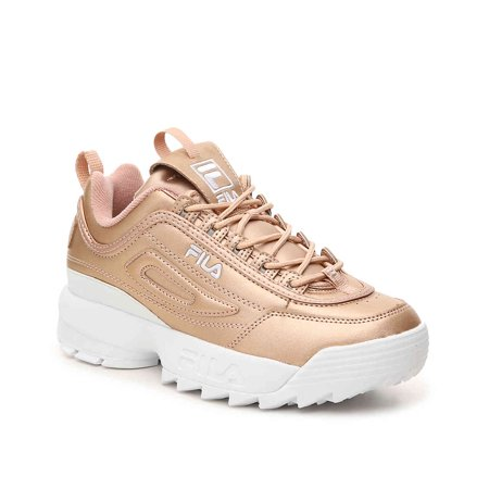 Fila Women's Disruptor II Premium Metallic Rose Gold/White Sneaker - 9.5 M  US