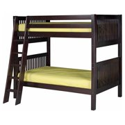 Camaflexi Twin over Twin Bunk Bed - Mission Headboard - Angle Ladder - Cappuccino Finish