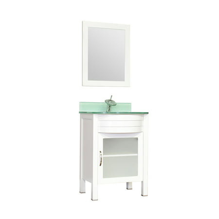 "Image of Elite 24"" Single Modern Bathroom Vanity in White with Light Green Glass Top without Mirror"