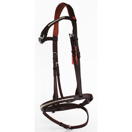 Horse English Padded Leather  COB Riding Jumping Adjustable Fancy Bridle 803449C