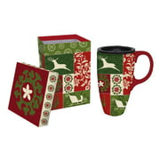 Cypress Home Holiday Patchwork 17 oz. Ceramic Latte Travel Coffee Cup with Gift Box