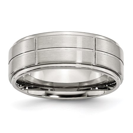 Stainless Steel Grooved 8mm Brushed/ Ridged Edge Wedding Ring Band Size 7.50 Fashion Jewelry Gifts For Women For Her - image 10 de 10
