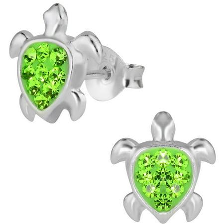 Silver Sea Turtle Earrings - Hypoallergenic Sterling Silver Green CZ Crystal Sea Turtle Stud Earrings for Kids (Nickel Free)