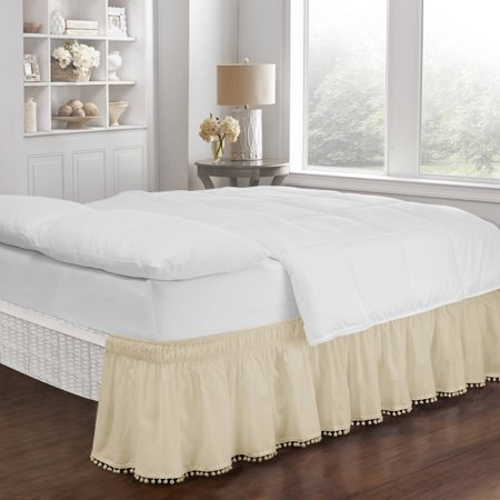 - Easy Fit Adjustable Pom Pom Fringe Bed Skirt