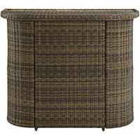 crosley furniture bradenton outdoor wicker bar with glass top - weathered brown