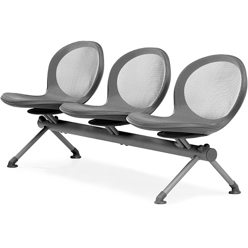 OFM NET Series Beam Seating with 3 Chairs, Black