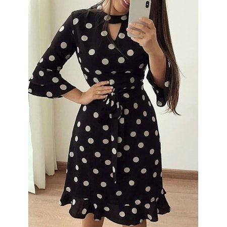 Women Bandage Bodycon Long Sleeve Short Mini Floral Party Cocktail Casual Dress Black Size S
