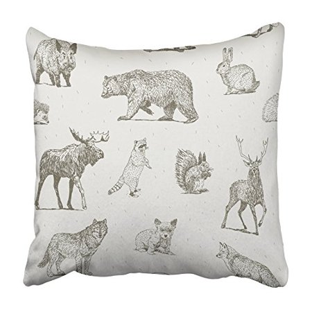 USART Black Draw Animals Drawings White Forest Moose Fox Bear Badger Wolf Deer Pillowcase Cushion Cover 20x20 inch