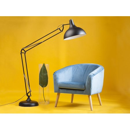 Modern Tub Chair Velvet Fabric Retro Living Room Teal Blue Nappa ()