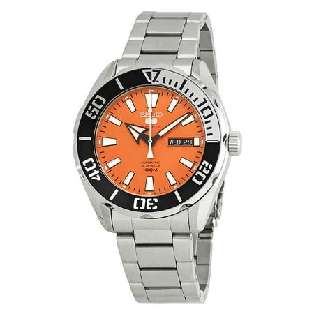 Seiko 5 Sports Automatic Orange Dial Stainless Steel Men's Watch SRPC55 ()