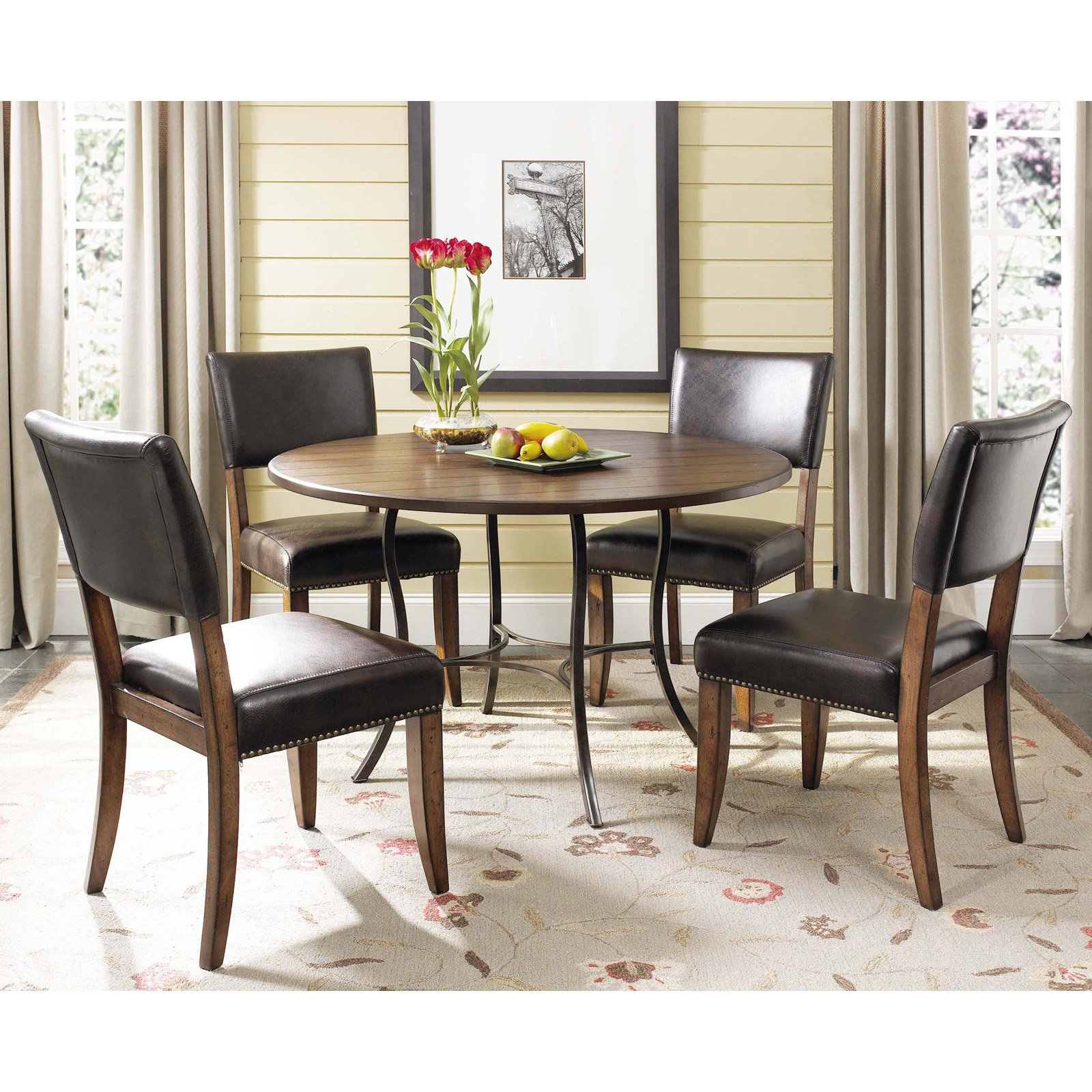 Hillsdale Cameron 5 Piece Round Wood and Metal Dining Table Set with Parson Chairs
