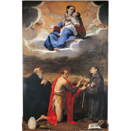 Madonna And Child With Sts Benedict Canvas Art - (18 x 24)