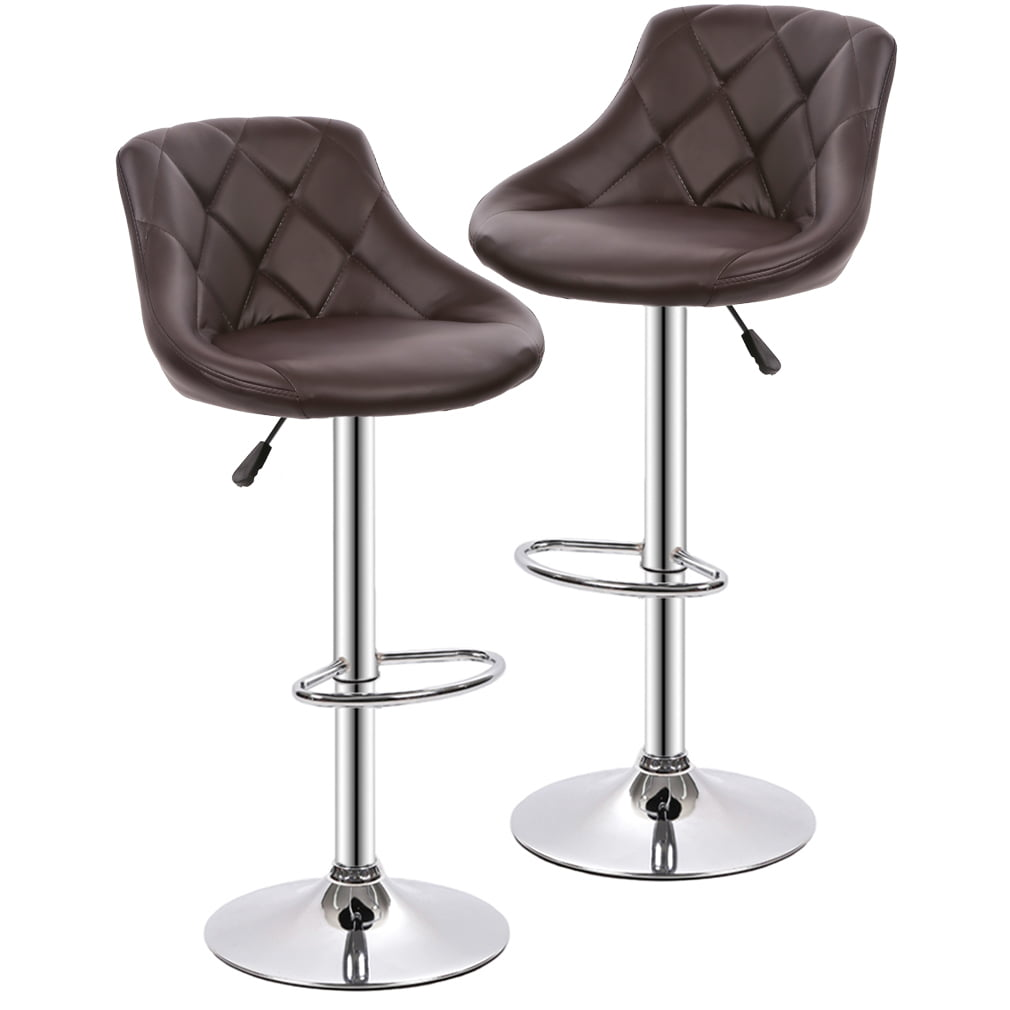 Bar Stools Barstools Swivel Stool Set Of 2 Height Adjustable Bar Chairs With Back Pu Leather Swivel Bar Stool Kitchen Counter Stools Dining Chairs Walmart Com Walmart Com
