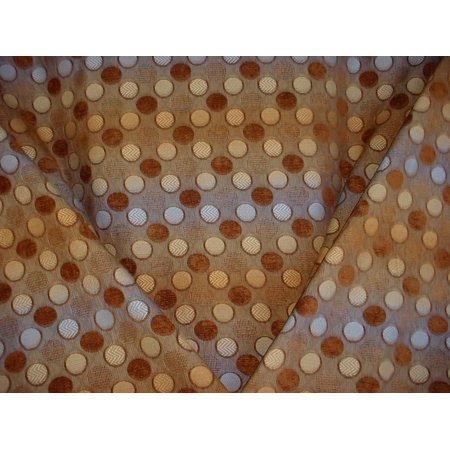 Vision Fabrics Calypso in Cocoa- Plush Transitional Geometric Circle Chenille Designer Upholstery Drapery Fabric - By the