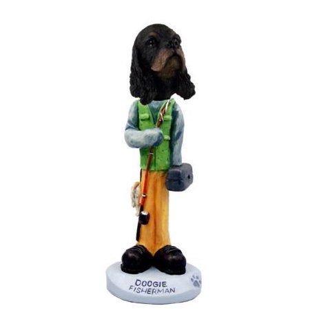 (No.Doog15F29 Cocker Spaniel Black & Tan Fisherman Doogie Collectable Figurine)