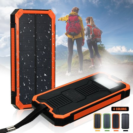 Waterproof Portable 300,000mAh Solar Power Bank Dual USB Port LED Flashlight + Carabiner + USB Cable For Smart Phone Outdoor Camping