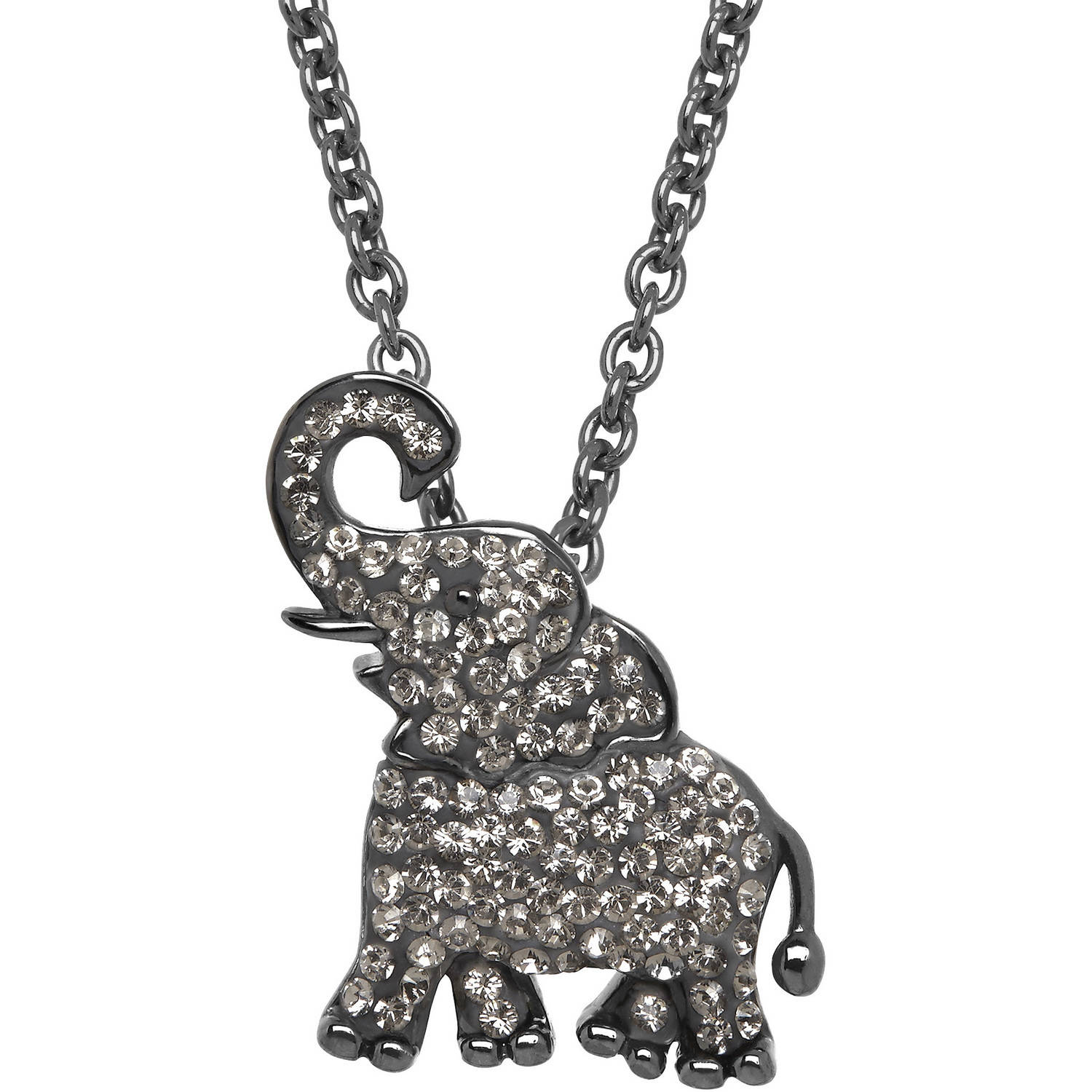 Animal Planet™ African Elephant Pendant made with Swarovski Elements in Sterling Silver, 18""