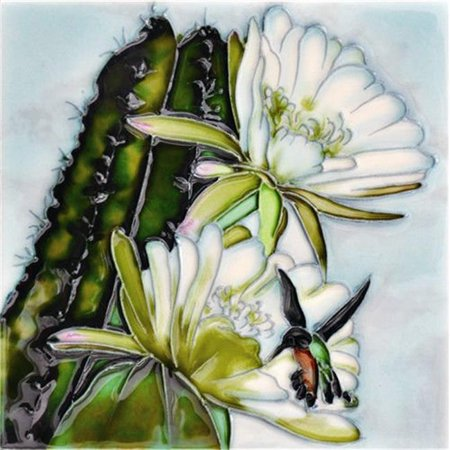 en vogue b-375 8 x 8 in. cactus hummingbird, decorative ceramic art tile