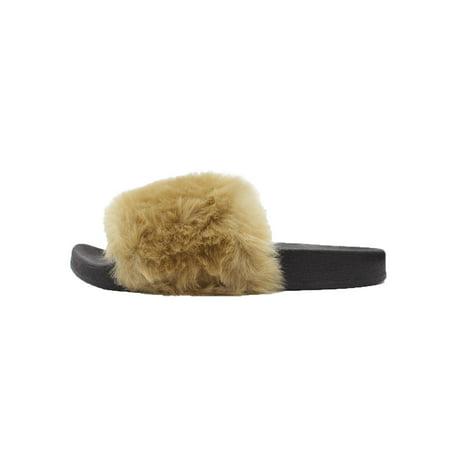 LAVRA Women's Faux Fur Slide Slip On Fuzzy Sandals