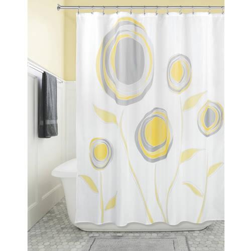 """InterDesign Marigold Fabric Shower Curtain, Standard 72"""" x 72"""", Orange/Red"""