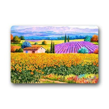 WinHome Sunflower In Country Doormat Floor Mats Rugs Outdoors/Indoor Doormat Size 23.6x15.7 inches Country Heritage Yellow Rug