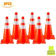 """VEVOR 6X28"""" Traffic Cones Safety Cones Traffic Safety Cone with Reflective Collar and Vest"""