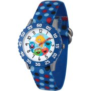 Group Boys' Stainless Steel Time Teacher Watch, Blue Bezel, Blue Nylon Strap with Printed Polka Dot