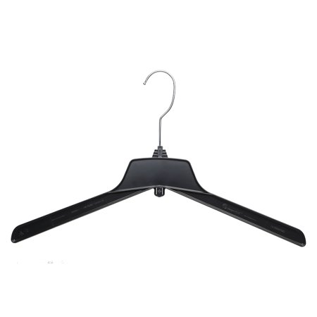 Hanger Central Outerwear Hangers Recycled Plastic Heavy Duty Thin Break Resistant with Polished Metal Swivel Hooks (100, 17