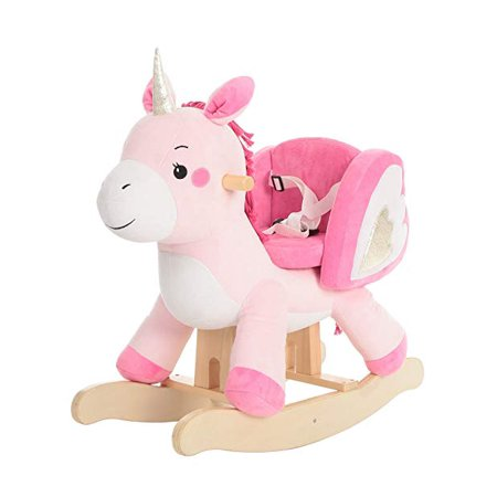 2019 Baby Rocking Horse, Pink Unicorn, Kid Ride On Toy for 1-3 Year Old, Infant (Boy Girl) Plush Animal Rocker, Toddler/Child Stuffed Ride Toy for Outdoor Indoor, Nursery Child Birthday Gift All His Horses Rocking Horse