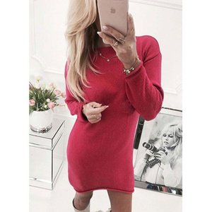 Women Long Sleeve Crew Neck Solid Color Knitted Sweaters Midi Dress