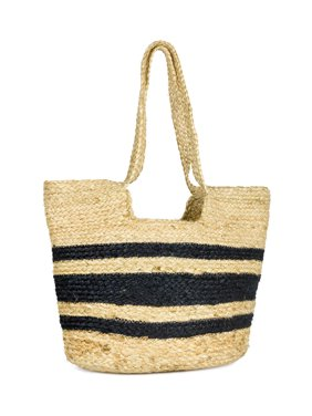 Women's Striped Woven Jute Beach Tote Bag with Double Handle