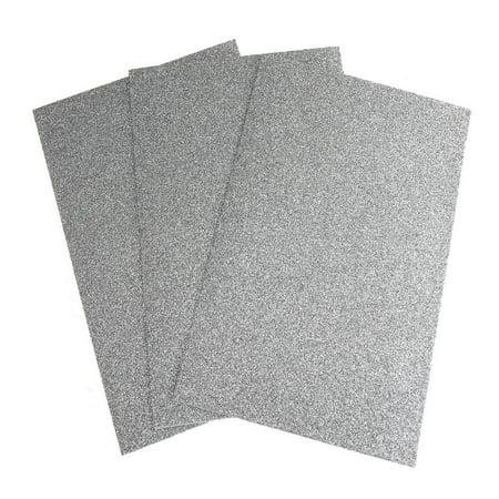 Self-Adhesive Glitter EVA Foam Sheet, 8-Inch x 12-Inch, 3-Piece, Silver ()