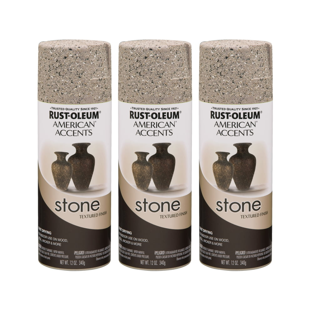 3 Pack Rust Oleum American Accents Stone Pebble Textured Finish Spray Paint 12 Oz Walmart Com Walmart Com