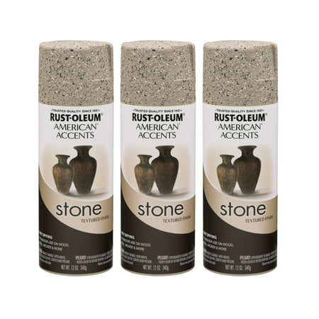 - (3 Pack) Rust-Oleum American Accents Stone Pebble Textured Finish Spray Paint, 12 oz