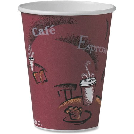 Hot Chick Solo (Solo, SCCOF12BI0041, Single Sided Paper Hot Cups, 300 / Carton, Maroon, 12 fl)