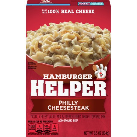 Hamburger Helper Philly Cheesesteak Hamburger Helper 6.5 Oz. America's favorite Hamburger Helper is made with 100% REAL cheese for the real taste you love most. Our products are made with NO artificial flavors or colors from artificial sources. Add Your Own Twist! Add some pizzazz! Stir in sliced green and red bell pepper and sliced onion before simmering.