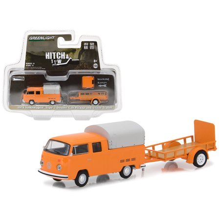 1978 Volkswagen Type 2 Double Cab Orange with Utility Trailer Hitch & Tow Series 11 1/64 Diecast Car Model by Greenlight - Halloween 1978 Trailer Hd