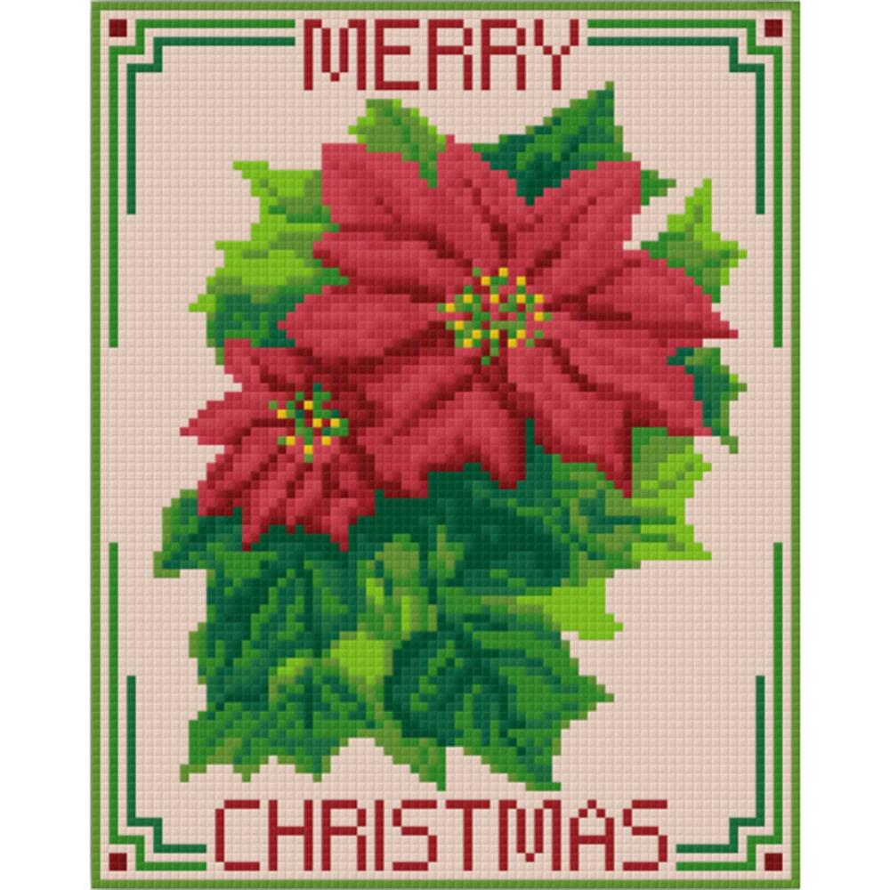 PixelHobby Merry Christmas-Poinsettia Mosaic Art Kit