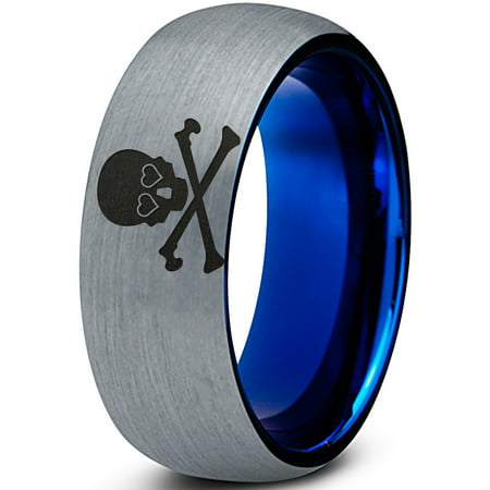 Domed Eye - Tungsten Skull and Cross Bone Heart Emoji Eyes Band Ring 8mm Men Women Comfort Fit Blue Dome Brushed Gray Polished