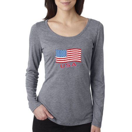 Trendy USA 719 - Women's Long Sleeve T-Shirt USA Flag Distressed Old Glory United States 2XL Heather